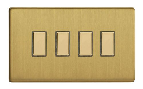 Varilight JDBES004S Screwless Brushed Brass 4 Gang Touch Dimming Slave (use with V-Pro Master)